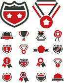 awards, labels, winner icons, signs, vector illustration set