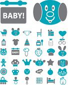 baby & children icons, signs, vector illustration set