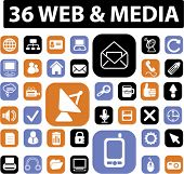 36 web & media icons, buttons, vector illustration