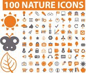 100 nature icons set, vector illustration