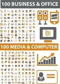 200 negocios & los iconos de oficina & media & ordenador set, vector illustration