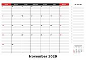 November 2020 Monthly Desk Pad Calendar Week Starts From Sunday, Size A3. November 2020 Calendar Pla poster