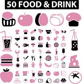 50 food icons set, vectr