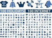 200 internet holidays icons set, vector