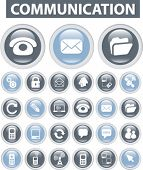 communication icons & buttons set, vector