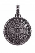 foto of phylacteries  - Pendant engraved with the Mayan calendar on a white background - JPG