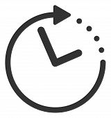 Raster Time Direction Flat Icon. Raster Pictograph Style Is A Flat Symbol Time Direction Icon On A W poster