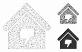 Mesh Thumb Down Building Model With Triangle Mosaic Icon. Wire Carcass Polygonal Mesh Of Thumb Down  poster