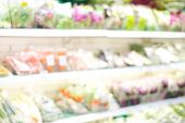 Blurred Background, Blur Products On Shelves At Grocery Store Background, Business Concept poster