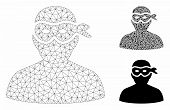 Mesh Masked Thief Model With Triangle Mosaic Icon. Wire Carcass Polygonal Mesh Of Masked Thief. Vect poster