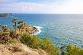 Seascape Of Phuket Best View Point Sunset At Phrom Thep Cape. One Of Attraction Tourist In Phuket La poster