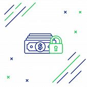 Blue And Green Line Money With Lock Icon On White Background. Locked Money. Security, Safety, Protec poster