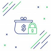 Blue And Green Line Closed Wallet With Lock Icon On White Background. Locked Wallet. Security, Safet poster