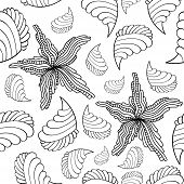 Seamless Background With The Image Of A Starfish And Shells. Linear Contour Drawing For Coloring. Is poster