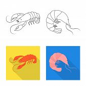 Isolated Object Of Appetizer And Ocean Sign. Collection Of Appetizer And Delicacy Vector Icon For St poster