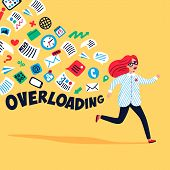 Input Overloading. Information Overload Concept. Young Woman Running Away From Information Stream. C poster