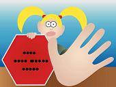 Mujer con cartel de parada con la mano izquierda y con la mano derecha gesticular parada - Vector