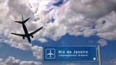 Airplane Silhouette Landing In Rio De Janeiro, Brazil. City Arrival With International Airport Direc poster