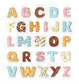 Delicious Cookies Flat Alphabet Vector Set. Sweet Baking Cartoon Font. Creative Gingerbread Typograp poster