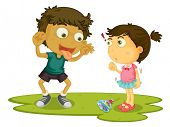 Older brother teasing his sister - EPS VECTOR format also available in my portfolio.