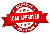 Loan Approved Ribbon. Loan Approved Round Red Sign. Loan Approved poster