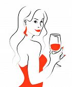 Vector Hand Drawn Portrait Of Young Beautiful Lady In Red Dress With Wine Glass Isolated On White Ba poster