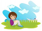illustration of a girl sitting on a white background - EPS VECTOR format also available in my portfolio.
