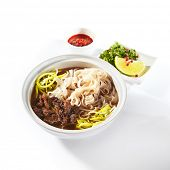 Traditional Vietnamese soup Pho Bo with beef meat, rice noodles, sturdy broth and a set of hot spice poster