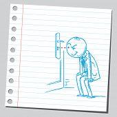 Businessman peeking through a keyhole