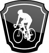bicyclist on emblem