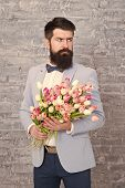 We Take Flowers Personally. Spring Gift. Bearded Man Hipster With Flowers. Love. International Holid poster