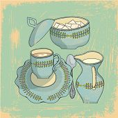 Whimsical Vintage Coffee Serving Set - cup and saucer, spoon, sugar bowl with lid and creamer on a grunge background
