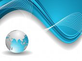 Professional Corporate or Business template for financial presentations showing globe in blue and silver metalic color on blue wave background. EPS 10. Vector illustration.