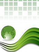 Professional Corporate or Business template for financial presentations showing globe in green color on wave background. EPS 10.