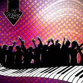 Party night background with dancing people silhouette and piano buttons, can be use as flyer, banner or poster for discotheque, party and other events. EPS 10. Vector illustration.
