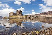 Reflection of Eilean Donan Castle, Highland Scotland.