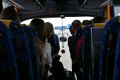 stock photo of motor coach  - Picture of the inside of a bus caught in a traffic jam - JPG