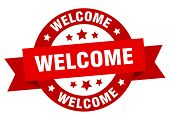 Welcome Ribbon. Welcome Round Red Sign. Welcome poster