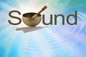 The Sound Of A Tibetan Singing Bowl - Brass Bowl With Mallet Making The O Of Sound On A Radiating Bl poster