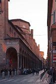Church San Giacomo Maggiore From Via Zamboni In Bologna