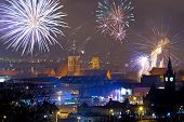 Fireworks display of New Years Eve in Gdansk, Poland