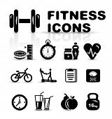 Black fitness icon set isolated on white