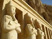 a group of Statues at Queen Hatshepsut's Temple