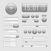Luz Web UI elementos diseño gris. Elementos: Botones, interruptores, Slider
