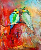 stock photo of mating animal  - Original oil painting of blue tailed bee eaters song birds on canvas - JPG