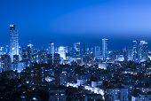 Tel Aviv and Ramat Gan Skyline atnight