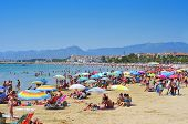 CAMBRILS, SPAIN - AUGUST 10: Vacationers in Prat de en Fores Beach on August 10, 2012 in Cambrils, S
