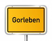City limit sign Gorleben, radioactive waste store in Germany