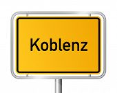 City limit sign Koblenz against white background - signage Coblenz - Rhineland Palatinate, Rheinland