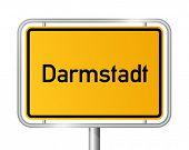 City Limit Sign Darmstadt vor weißem Hintergrund - Signage - Hessen, Hessen, Deutschland